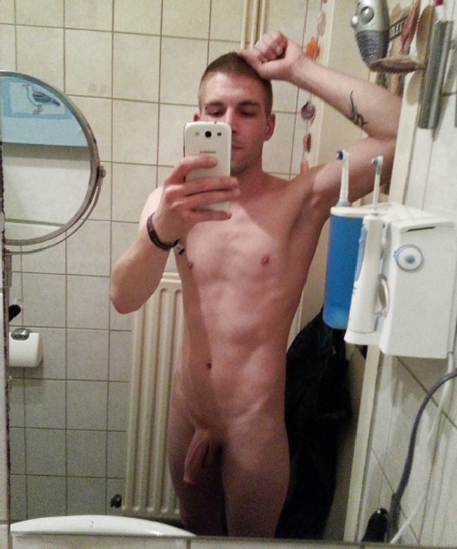 Nude Guy With Semi Hard Cock